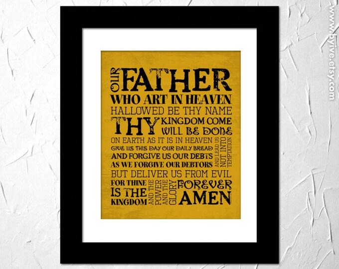 The Lords Prayer. Our Father. Matthew 6:9-13. Inspirational Prayer. Subway Art. Unframed.