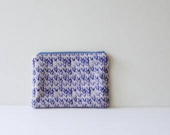 watercolor knit pattern clutch - cosmetics case, pencil case, purse organizer - back to school - art supply case