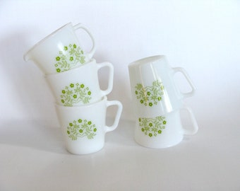 Pyrex Milk Glass Cups Mugs Creamer Green Floral Pattern Set of 5, Retro Green Flowers Glassware Kitchenware, Collectible, Corning NY USA