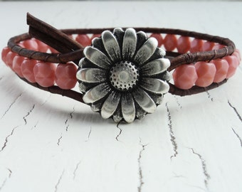 Leather Wrap Bracelet, Pink Leather Bracelet, Daisy Jewelry, Boho Bohemian, Boho Chic, Coral Pink Jewelry, Shabby Chic