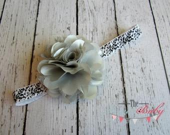 Gray Silver Flower Black & White Damask Headband - Satin and Tulle - Newborn -Toddler  - Photo Prop Flower Girl Womens