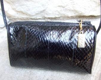 SAKS FIFTH AVENUE Black Snakeskin Diminutive Shoulder Bag c 1980