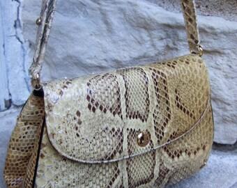 Exotic Python Vintage Handbag by Joseph c 1970