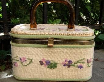 Charming Needlepoint Pastel Flower Box Bag c 1970