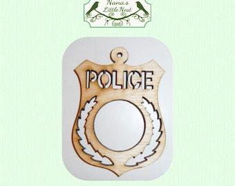 Police Ornament - Laser Cut Wood