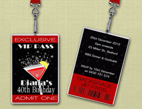 Personalised Cocktail Party VIP Lanyard Invitations x 10 by Deezee