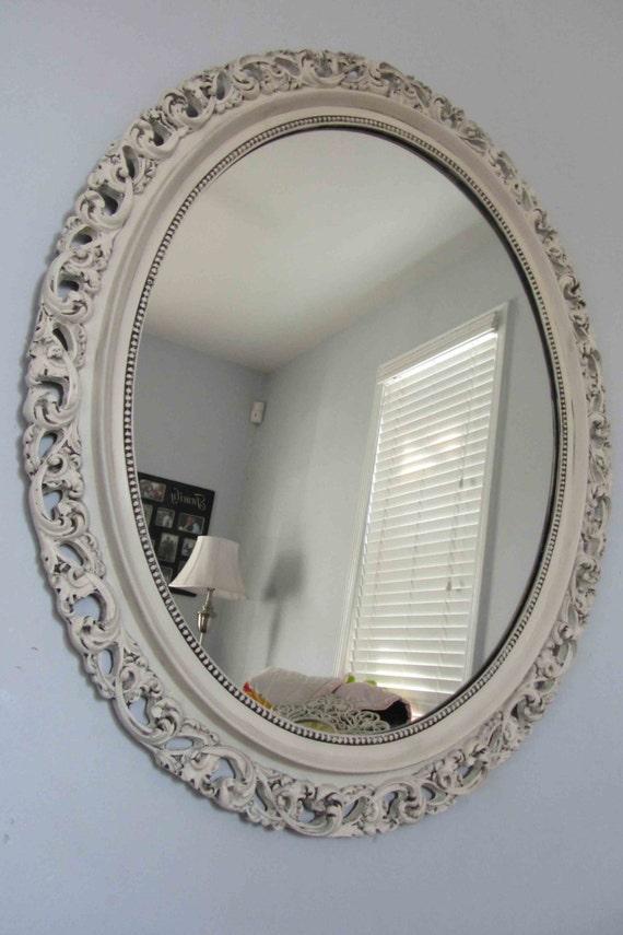 Vintage heirloom white ornate large round mirror black for Large white round mirror