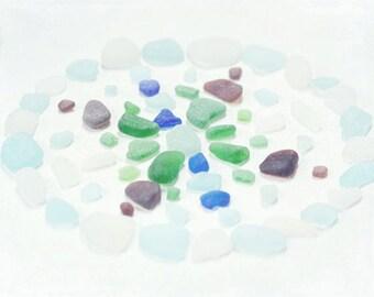 Beach Glass Photography - Sea Glass Photograph - Mandala - Sea Glass - Beach Glass - Fine Art Photography Print - Green Blue Home Decor