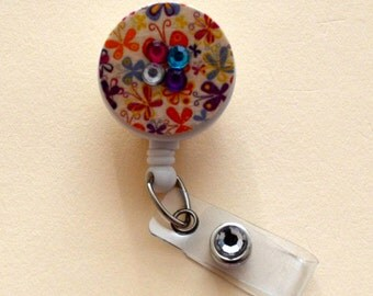 Multi-colored Flower Button Badge Reel