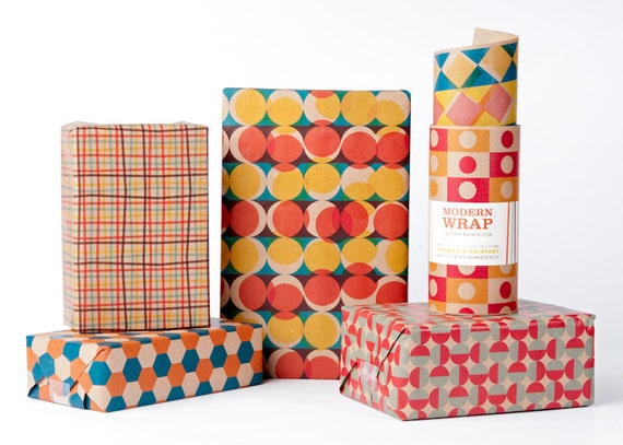 Mid-Century Modern Wrapping Paper / 12 Sheets