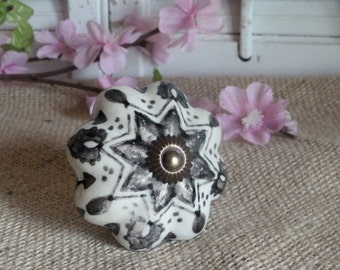Black And White Ceramic Pull Knob, Door Knob, Drawer Knob, French Cottage Decor, Bedroom Decor