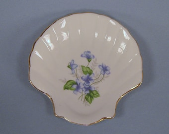 Vintage Shell Dish, Painted Blue Violets