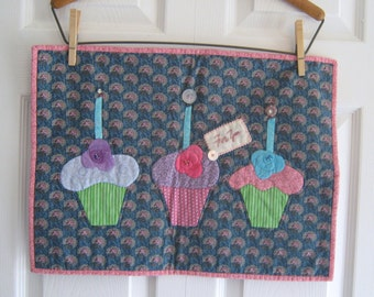 Birthday Cupcakes Appliqued and Quilted Wall Hanging