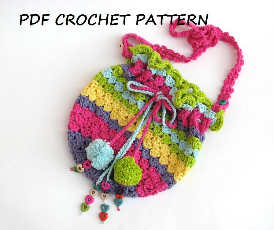 Easy Crochet Small Purse Patterns For Beginners : Colorful Girls Bag / Purse Crochet Pattern PDFEasy Great