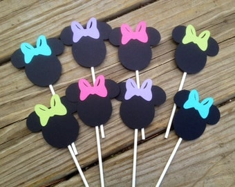 12 Minnie Mouse Multi Colored Bowtique, Bow Cupcake Toppers,Perfect for Minnie Mouse Birthday or Baby Shower