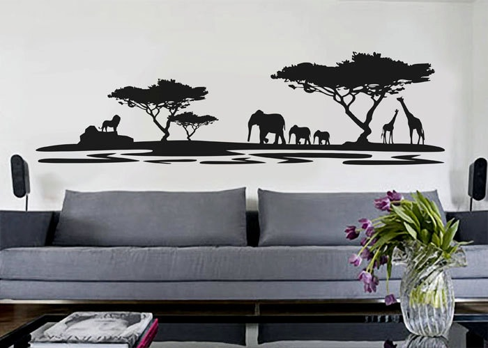 African safari uber decals wall decal vinyl decor art for African wall mural