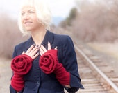 Red Rose: cashmere arm/wrist warmers, long, felted, fingerless gloves, oversize rose adorned up-cycled, handmade