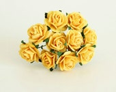 100 pcs - Yellow paper rose / 1.5 cm roses / mulberry paper roses / wholesale pack