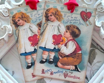 Boy and Girl Valentine Gift Tags (6) Retro Valentine-Shabby Valentine Tag-Love Tags-Favor Tag-Treat Tags-Classroom Valentine-Valentine Card