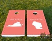 Wedding Cornhole Set - Maps | Heart Marks the Spot