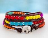 Little Jumbo, my sweet elephant... Leather wrap bracelet... Beaded Triple Wrap Bracelet. Original OceanBead Style.