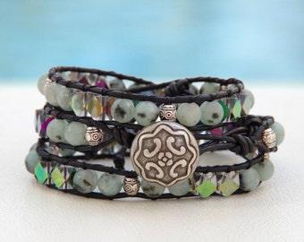 Cruella DeVile....Leather wrap bracelet... Dalmatiner Jasper triple wrap bracelet. Original OceanBead Style