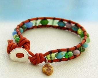 Fall in Love... Leather wrap bracelet... Original OceanBead style.
