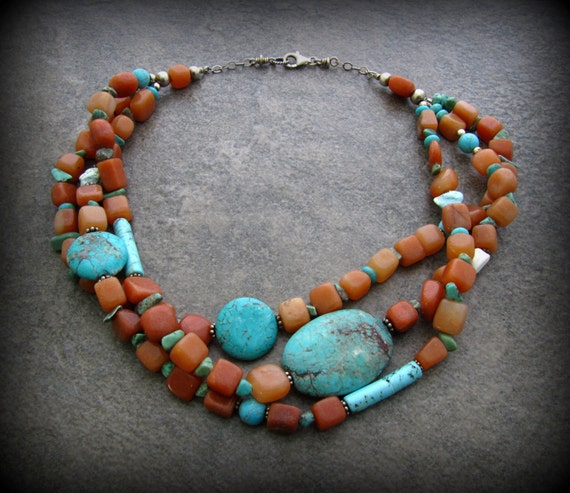 Chunky Turquoise South Western Necklace - Multi Strand Turquoise Statement Necklace - Chunky Strand Necklace