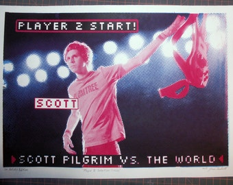 Scott Pilgrim handpulled Silkscreen Print neon video game screen