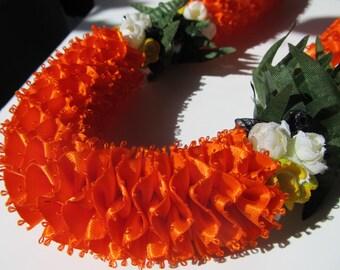 Hawaiian Ribbon Lei Orange Carnation with Kikui Nut & Flowers