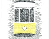LISBON Typographic Art Print/handwritten