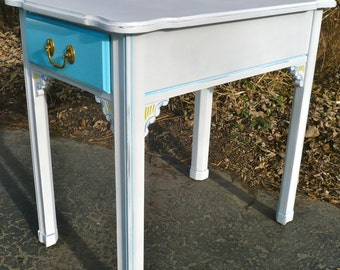 Side Table, End Table, Nightstand, Harden Furniture, Blue, Yellow, White, Rustic, Boho Decor, Cottage, French Country, Furniture, Wood Table