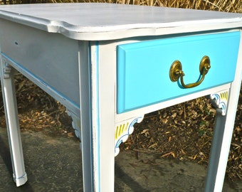 Side Table, End Table, Nightstand Painted Harden Furniture, Blue Yellow White Rustic, Boho, Cottage, French Country Furniture, Wood Table