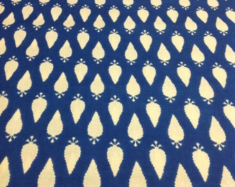 Indian Cotton Fabric - Indigo and White Leaf Print Fabric - Soft Cotton Fabric by Yard