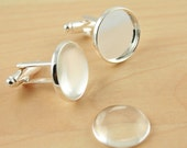 6 RECESSED Style 16mm Cuff Link Making Kit with Optional 6 GLASS and 6 or 12 Seals - Shiny Silver, Makes 3 Pair of Cufflinks