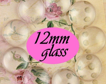 25 12mm Regular Domed Clear Glass Circles High Quality