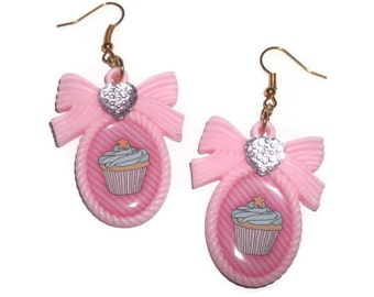 Kawaii Cupcake Earrings, Pastel Pink Cameo Gold Earring