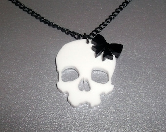White Skull Necklace, Cute Black Bow, Laser Cut Jewelry
