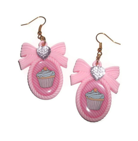 Kawaii Cupcake Earrings, Pastel Pink Cameo Gold Earring
