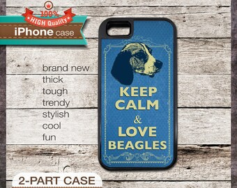 Keep Calm & Love Beagles - iPhone 6, 6+, 5 5S, 5C, 4 4S, Samsung Galaxy S3, S4