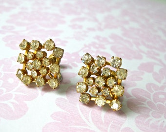 Rhinestone Earrings Clear with Gold tone Screw On Wedding Prong Set Vintage Fashion Shiny