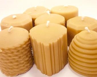 Beeswax Candle- You Choose 8 Mini Pillar Beeswax Candle