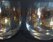 Drinking Glasses Clear with Gold Icons GREEK appeal