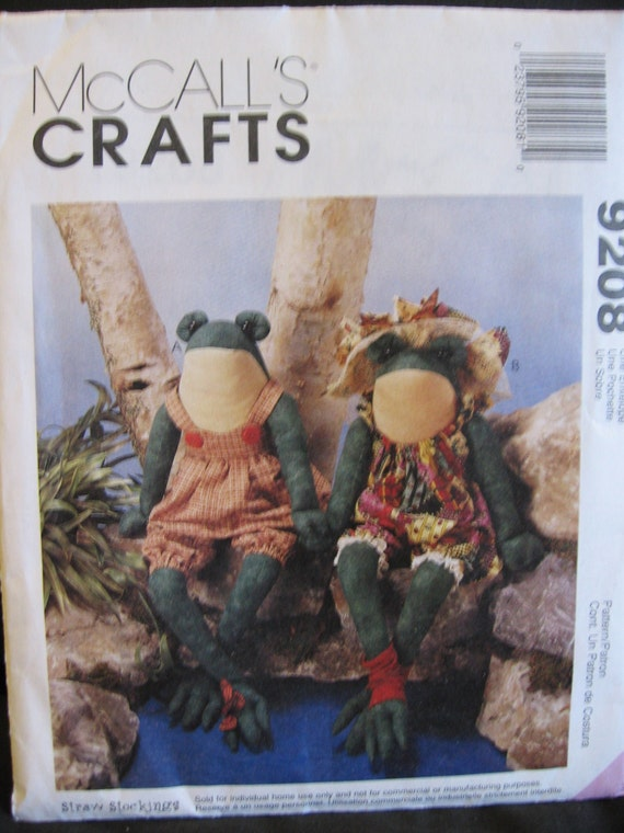 "McCalls Crafts 9208 Frog Doll Sewing Pattern 16"" Uncut OOP 1998 Plush Stuffed"