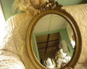 CLEARANCE SALE....Rare Spectacular Large Vintage Oval Gesso Mirror, Hollywood Regency,French
