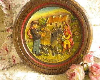 Exquisite Anri Wooden 1975 Christmas Plate,Collectible, Eclectic