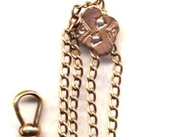 Gold Plate Victorian Watch Chain and Slide   Item No: 14057