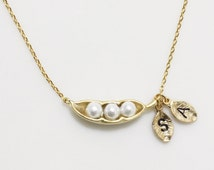 Initial necklace, Personalized Peas in a pod necklace, 2 leaves Initial