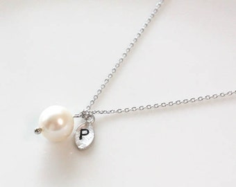 Sterling Silver pearl necklace, initial necklace, Personalized necklace, Swarovski Pearl, Sterling Silver chain
