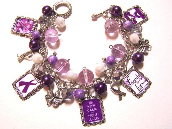 lupus awareness altered charm bracelet handmade beaded